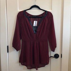 NWT Boutique Crimson Sheer Blouse w/ Faux Leather